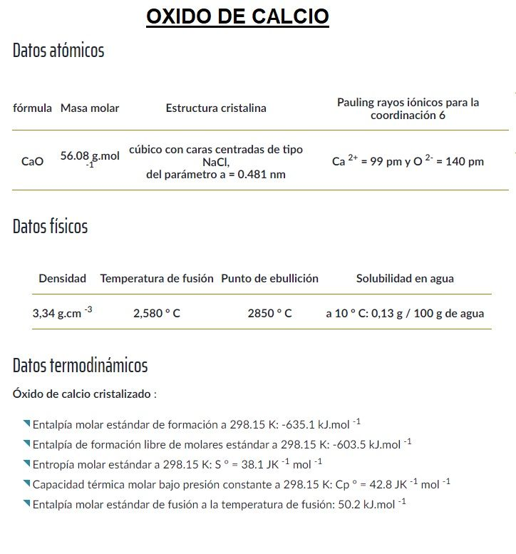 oxido de calcio