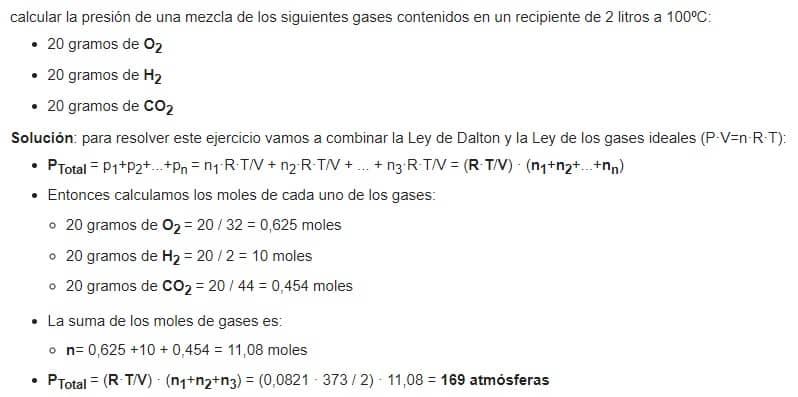 ejercicio ley de Dalton